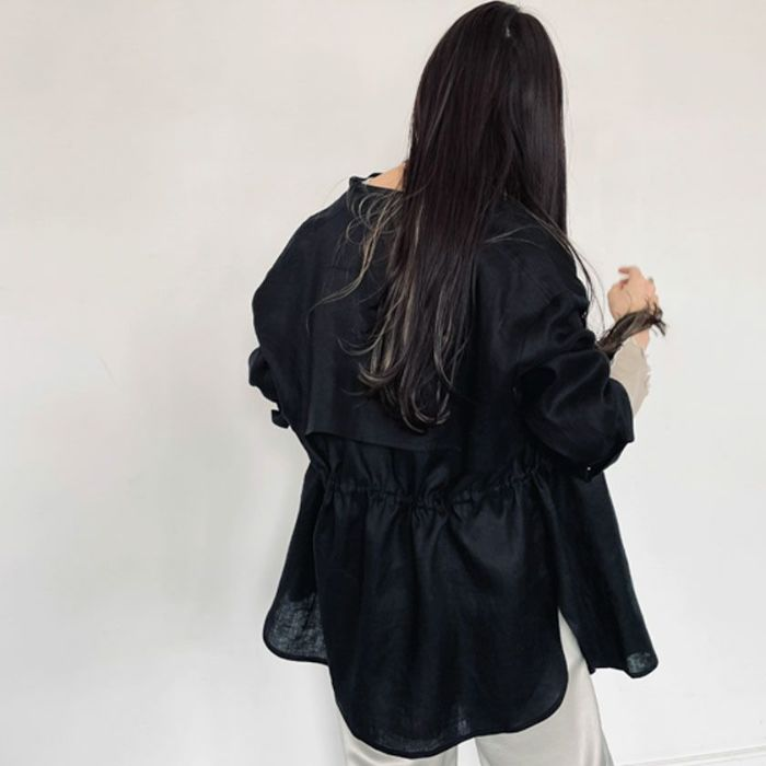 リネンシャツブラックカラー