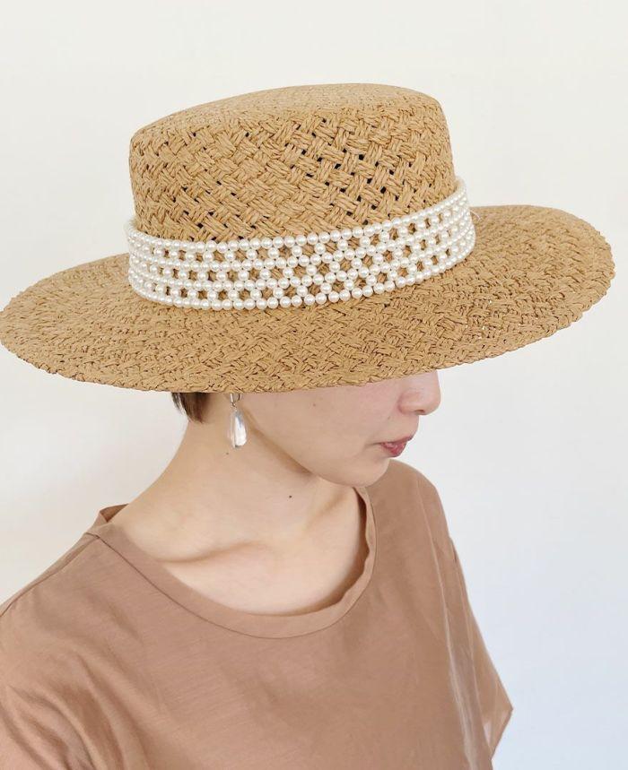 パール付きの大人麦わら帽子