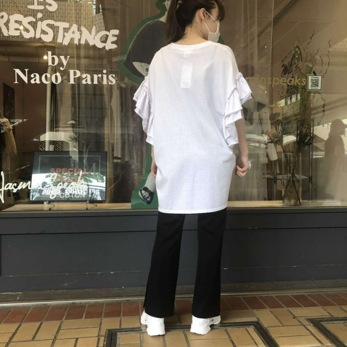 NACO PARIS(ナコパリ) 袖フリルビッグTシャツ