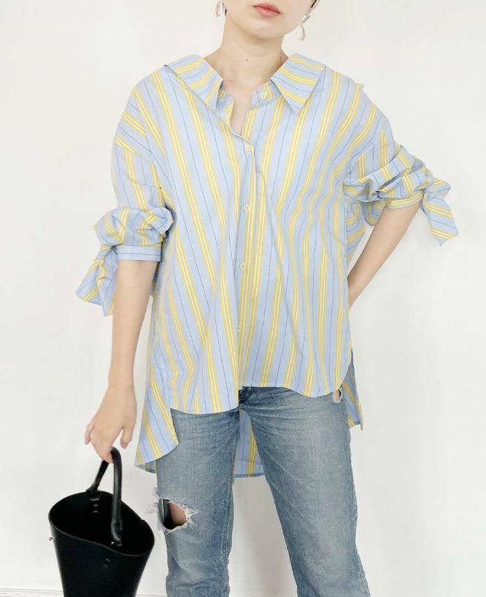 薄手の生地なのでインナー次第でシーズンレスで着ていただけるシャツ。