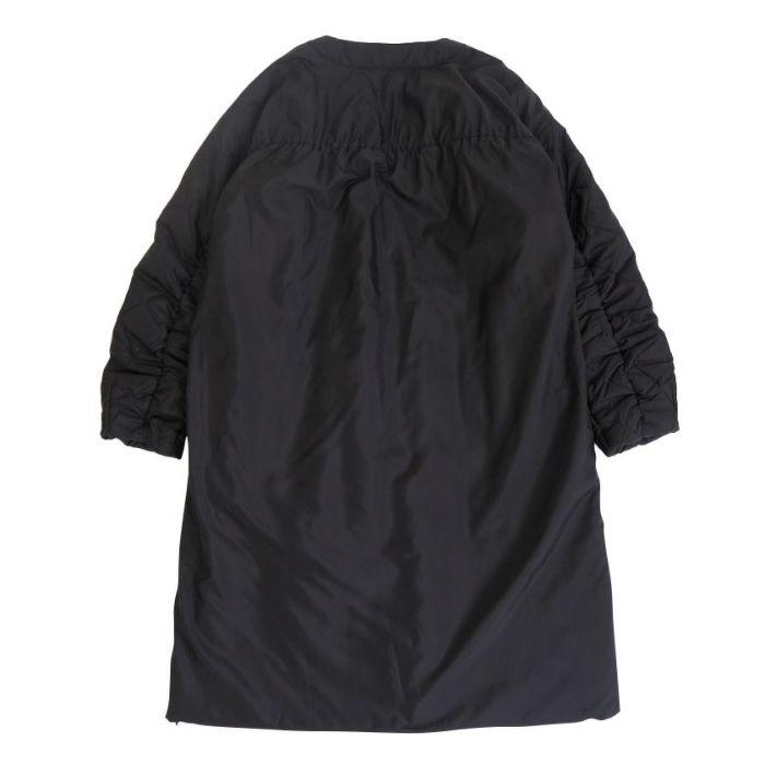 ノーカラーキルティングコート